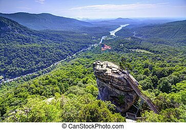 Chimney Rock at Chimney Rock State Park in North Carolina,...