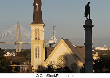 View of Charleston, South Carolina, with Cooper River...