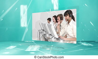 Call centre montage on blue and digital background