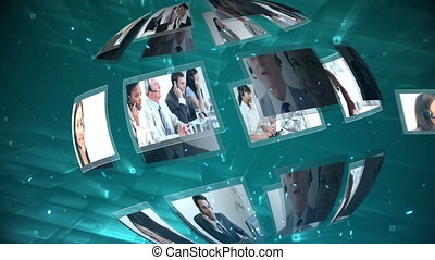 Moving sphere of call centre and telecoms clips on blue...