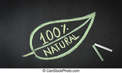 100 Percent Natural - 100 percent natural chalk illustration...
