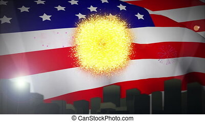 Independence day animation with city skyline waving flag and...