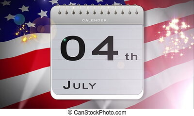 Independence day montage with calendar introduction of bbq...