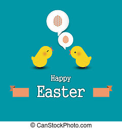 Easter egg with chicks - Vector illustration of Easter egg...
