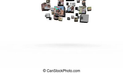 Montage of family life falling in cubes on white background