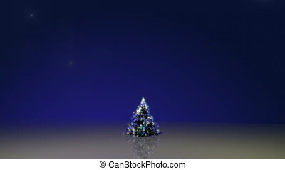 Christmas tree rising with montage of christmas clips on...