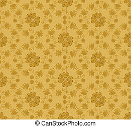 pattern with flowers mustard colore - mustard-colored...
