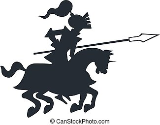 Knight horse riding with pike