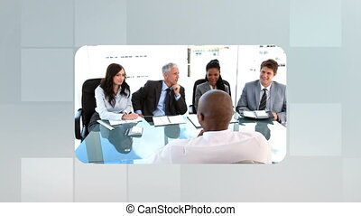 Montage of business people on grey grid background