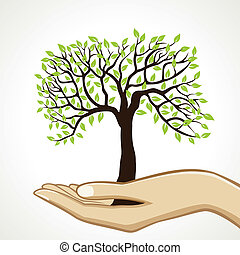 small tree on hand stock vector