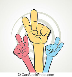 hand show victory sign stock vector