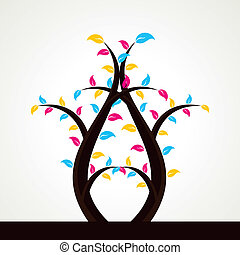 abstract colorful leaf tree stock vector
