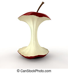 Apple Core Isolated - An eaten red apple showing its core on...