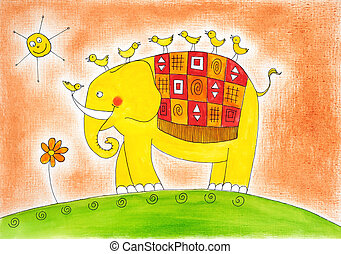 Happy, elephant, birds, child's, drawing, watercolor,...