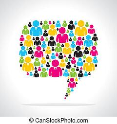 coloridos, pessoas, equipe, mensagem, bolha