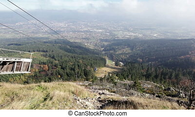view on cable way from Jested - view from upper station on...