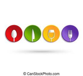 Food service icon design - Abstract interpretation. colorful...