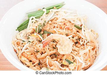 Stir fried noodle with shrimp, thai cuisine