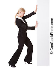 Businesswoman pushing banner. Isolated on white background