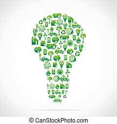 green eco bulb design with icon