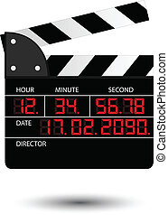 Movie clapper with red digital numbers on white