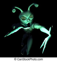 Alien character - 3d render of cartoon alien isolated on...