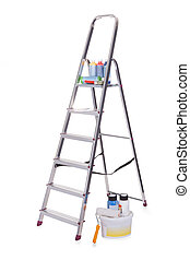 Aluminum ladder and paint tools. Isolated on white