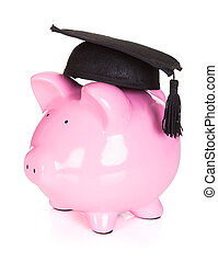 Piggybank wearing graduation hat