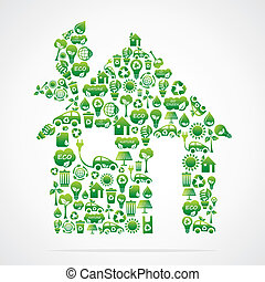 green house with eco green icons