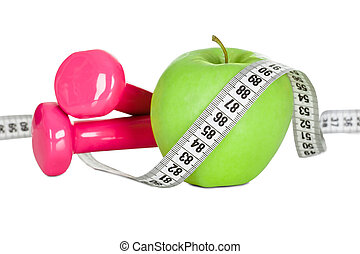 Apple wrapped in measuring tape. Diet concept. Isolated in...