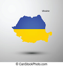 Ukraine flag on map of country