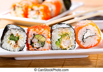 sushi - various sushi on a plate