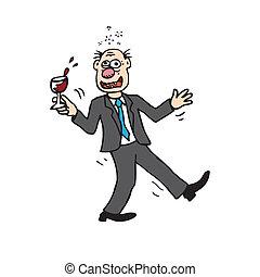 Drunk Cartoon Man - Silly wine drinker