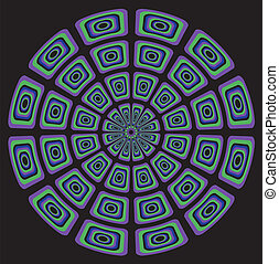 Circular psychedelic seventies - background on black