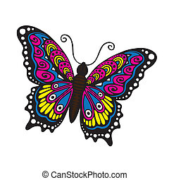 Fantasy butterfly - Hand drawn hippie butterfly