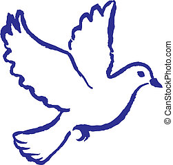 Peace Dove - Classical hand drawn peace dove symbol