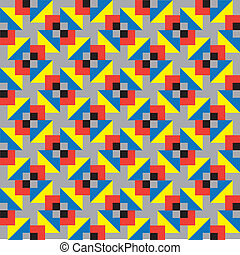 Gray and Colourful Squares Pattern - Seamless background