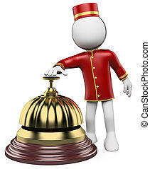 3D white people. Hotel reception bell - 3d white bellhop...