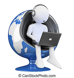 3D white people. call center globalization - 3d white...
