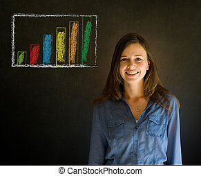 Confident woman against blackboard background - Confident...
