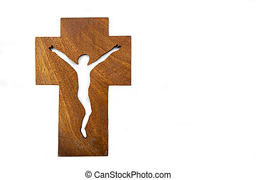 Modern Crucifix - Modern wooden crucifix over a white...