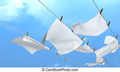 Hang laundry - Hanging laundry.