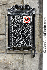 letter box - metal letter box with a no mail sign on it