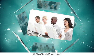 Business and call centre montage on spinning sphere of...