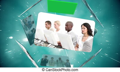 Montage of call centre workers with copy space