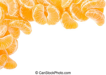 Tangerine segments frame on white - Tangerine or mandarin...