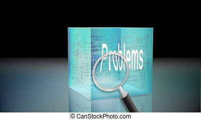 Problems and solutions animation with magnifying glass