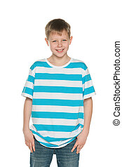 Handsome boy - A portrait of a handsome boy in striped shirt...