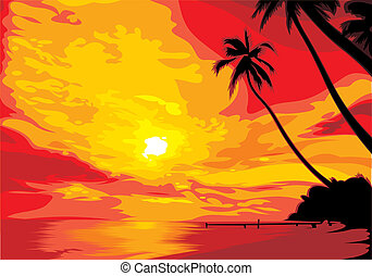 sunset background - sunset on the hot summer shore with palm...