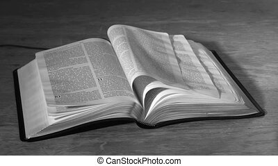 Bible pages turning in the wind in black and white in slow...